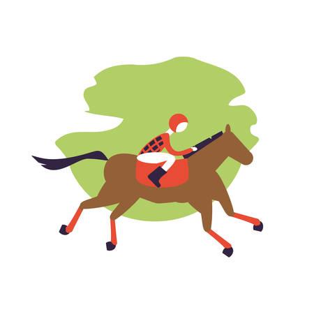 horse with jockey racecourse icon vector illustration design Foto de archivo - 132587047