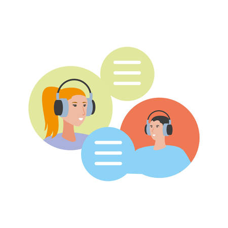 young couple with earphones avatars characters vector illustration design