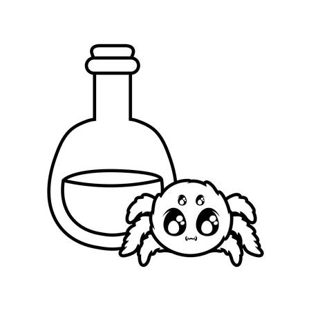 creepy spider animal with potion on white background vector illustration design