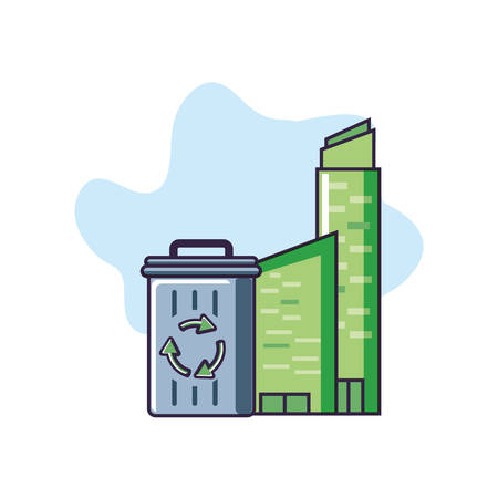 recycle bin with signaling and buildings facade vector illustration design