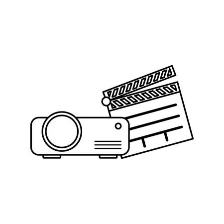 clapboard cinema with video beam vector illustration design