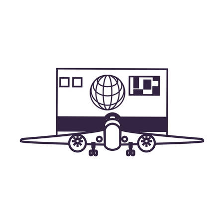 airplane flying with credit card vector illustration design