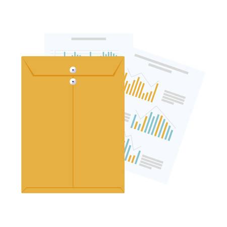 manila envelope with statistics documents vector illustration design Stock fotó - 134270058