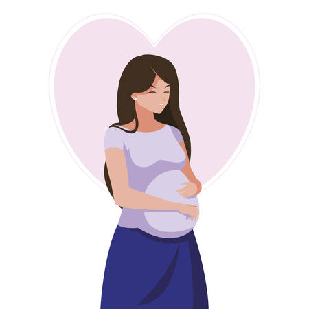 beautiful pregnancy woman in heart character vector illustration design 免版税图像 - 132650682