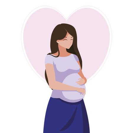 Hermosa mujer embarazada en el corazón, diseño de ilustraciones vectoriales Ilustración de vector