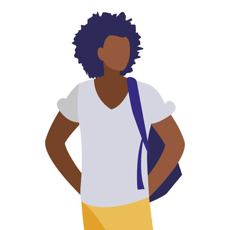 young black boy student modeling vector illustration design