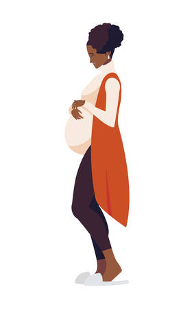beautiful afro pregnancy woman character vector illustration design