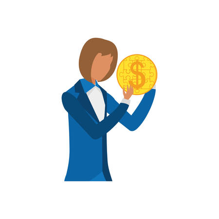 businesswoman with puzzle pieces in shape coin vector illustration design
