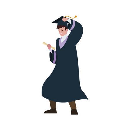 happy student boy graduated celebrating vector illustration design