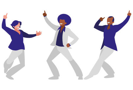 interracial dancers group disco style characters vector illustration design