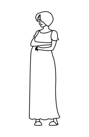 beautiful pregnancy woman character vector illustration design