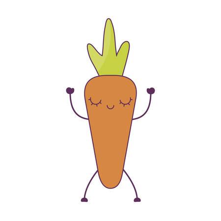 fresh carrot vegetable kawaii character vector illustration design