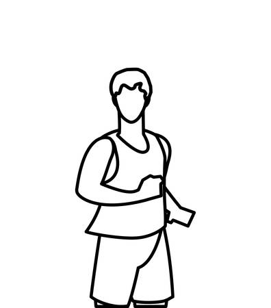 athletic man running character vector illustration design