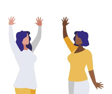 elegant interracial businesswomen avatars characters vector illustration design