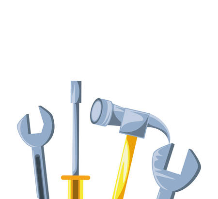 hammer with set tools vector illustration design 向量圖像