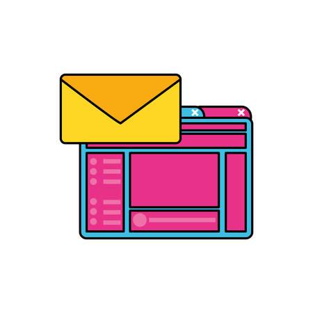 webpage template media with envelope vector illustration design