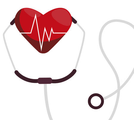 medical stethoscope with heart cardio vector illustration design