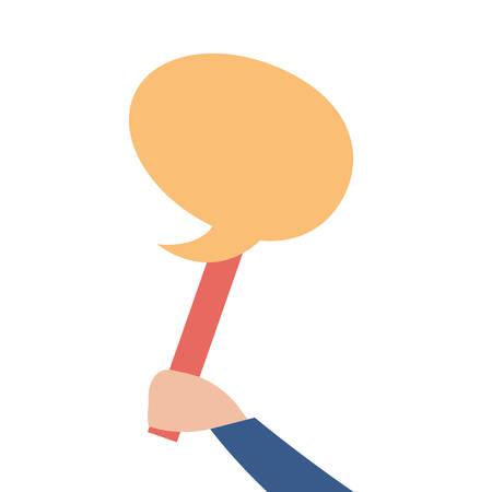 hand holding speech bubble in stick vector illustration Ilustração