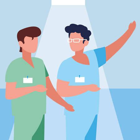 group of doctors with uniform avatar character vector illustration design Stock Illustratie