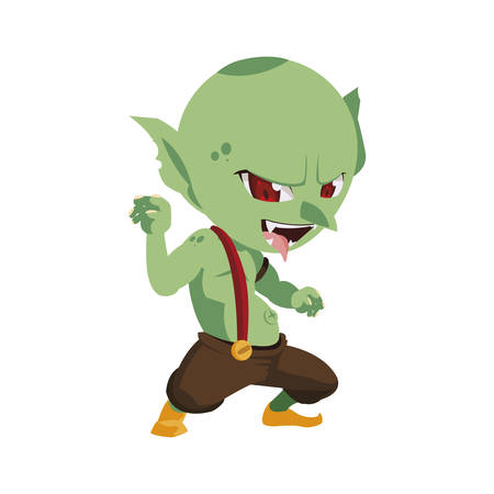 ugly troll magic character vector illustration design