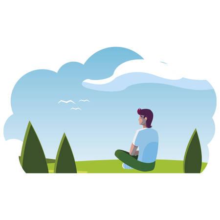man contemplating the horizon in the field scene vector illustration design