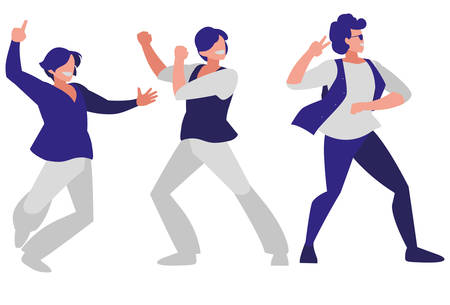 young dancers group disco style characters vector illustration design Ilustrace