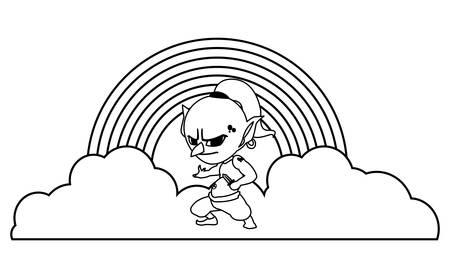 ugly troll with rainbow magic character vector illustration design Иллюстрация