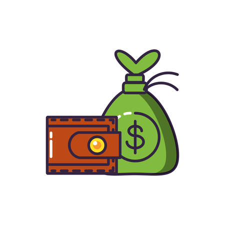 money bag with wallet money vector illustration design Illustration