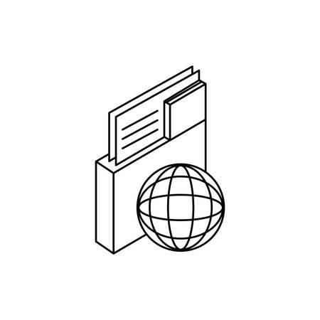 sphere planet browser with folder vector illustration design Çizim