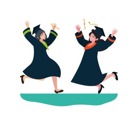 beautiful women students graduated celebrating vector illustration design