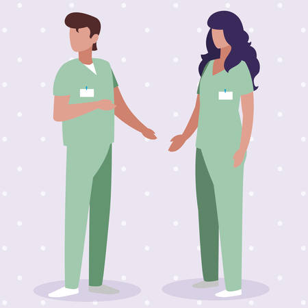 couple medicine workers with uniform characters vector illustration design Çizim