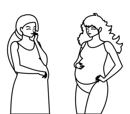 couple of beautiful pregnancy women characters vector illustration design