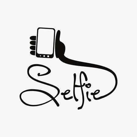 selfie inscription hand cellphone on white background vector illustration Vector Illustratie