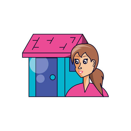 house facade with young woman vector illustration design
