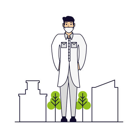 doctor professional with cityscape vector illustration design