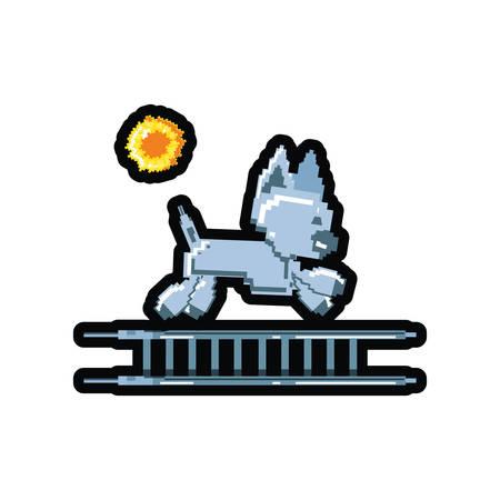 video game pixelated robotic dog in stairs vector illustration design Standard-Bild - 132752583