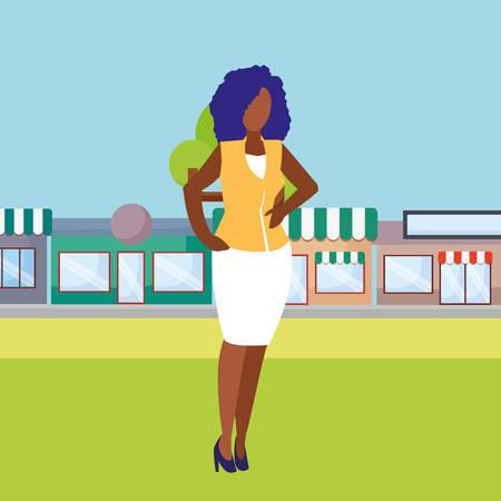 avatar businesswoman icon over white background, vector illustration 向量圖像