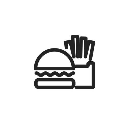 hamburger and french fries icon design, Eat food restaurant menu dinner lunch cooking and meal theme Vector illustration