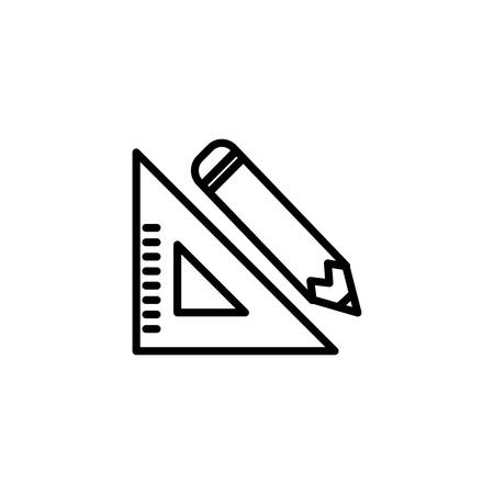 Pencil and ruler design, Tool write office object instrument equipment and draw theme Vector illustration