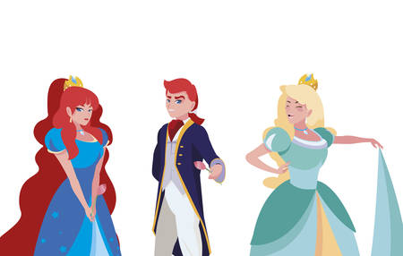 prince charming and two princess of tales characters vector illustration design Иллюстрация