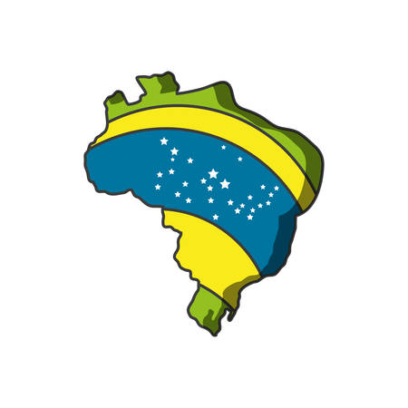 map of brazil with flag isolated icon vector illustration design