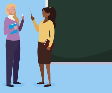 interracial female teachers couple with textbooks and chalkboard vector illustration Stock Illustratie