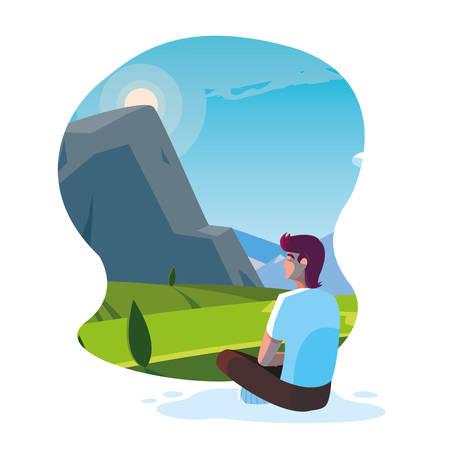man seated observing landscape mountainous vector illustration design