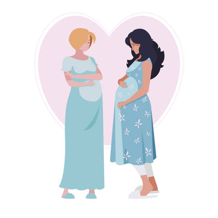 couple of beautiful pregnancy women in heart vector illustration design