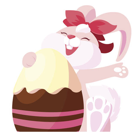 cute rabbit easter female with egg painted vector illustration design
