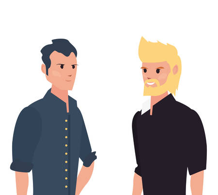 two men characters male portrait on white background vector illustration Иллюстрация