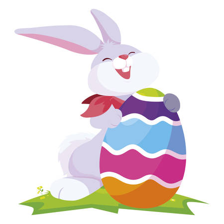 cute rabbit easter with egg painted in the camp vector illustration design Illustration