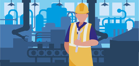 worker in factory workplace vector illustration design Standard-Bild - 132880798