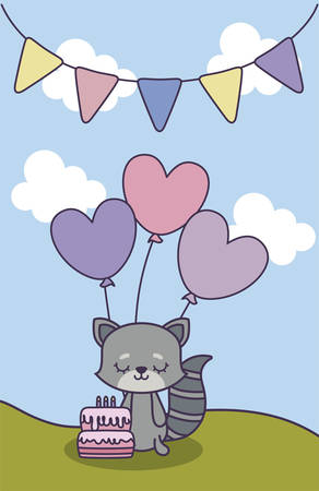 cute cat in landscape with decoration of birthday vector illustration design
