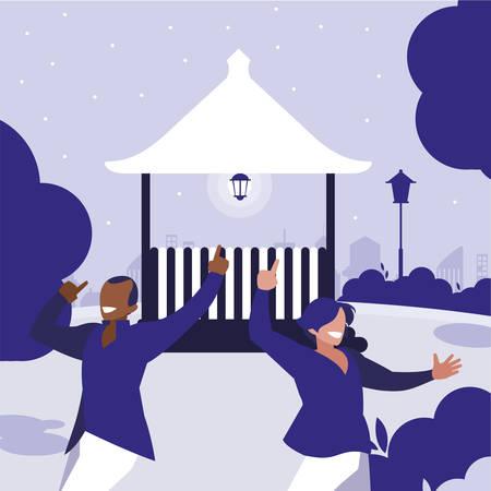 interracial dancers couple in the park vector illustration design Standard-Bild - 132907621